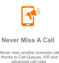Never Miss A Call Never miss another business call thanks to Call Queues, IVR and advanced call rules.